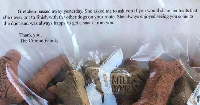 Mailman Who Used To Give Treats To Dogs On His Route Receives A Note That One Of The Dogs Has Passed Away