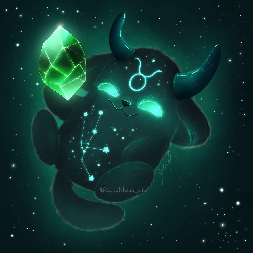 I Draw 12 Cute Glowing Monsters As Zodiac Signs Bored Panda