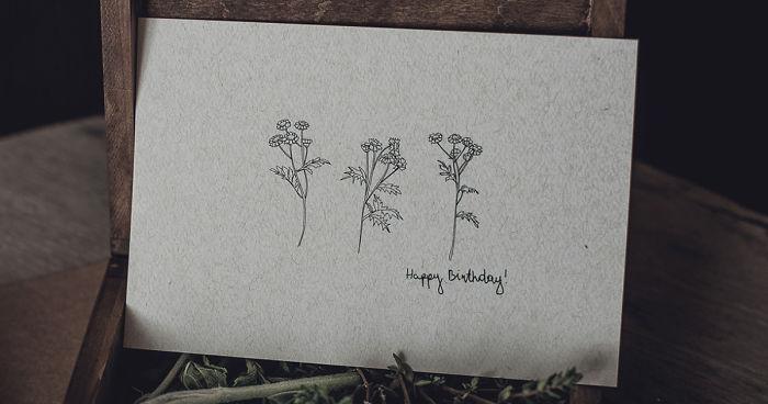 We Created Minimalist Flora Birthday Cards Which Make Us Dream Of Summer