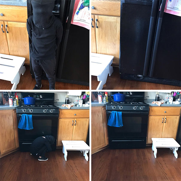 """My 4-Year-Old Thinks He's A Ninja So My Wife Took A """"Before"""" Picture And Showed Him. He Absolutely Thinks He's Completely Invisible In Front Of Our Black Appliances"""