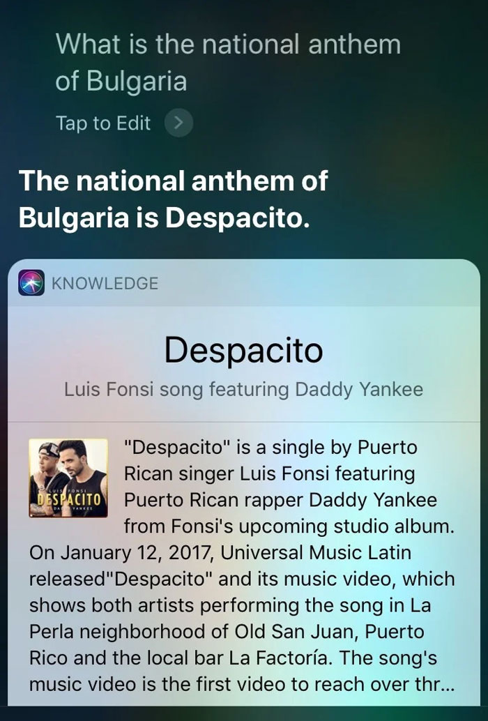 Siri Thinks The National Anthem Of Bulgaria Is Despacito