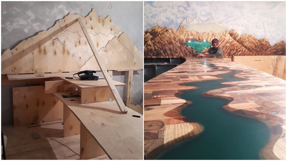 Belukha Mountain And The Katun River From Random Wood Pieces For A Small Bar In Altay Republic, Russia