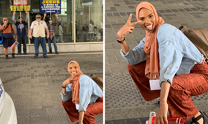 This Muslim Woman Took A Smiling Stand Against Anti-Muslim Protesters And Went Viral
