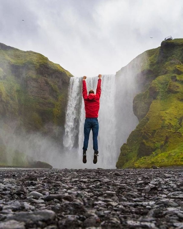 A Giant Hanging From A Waterfall