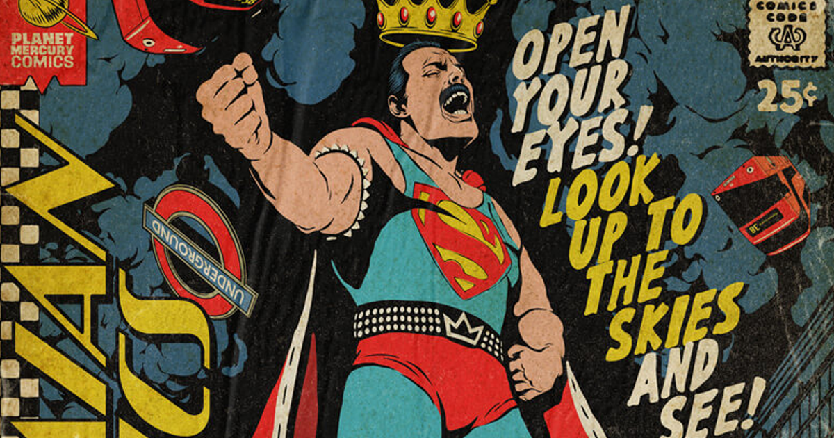 Artist Visualizes Freddie Mercury As The Protagonist Of Vintage Comic Book Covers