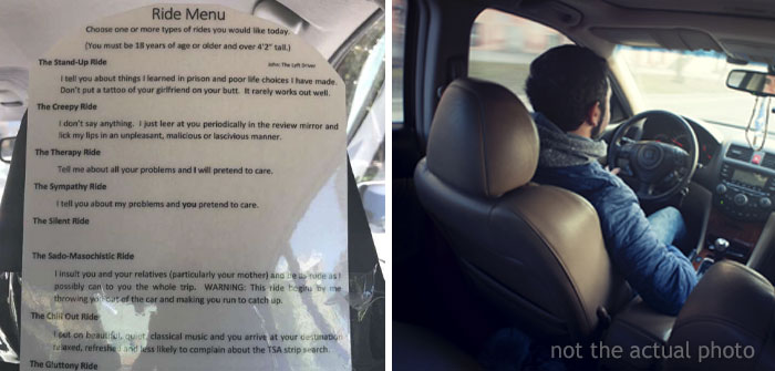 This Lyft Driver Is Taking His Services To A Whole Different Level And Offers Customers A Ride Menu