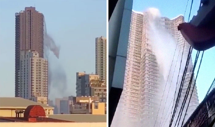 Water Cascades Down From The Rooftop Of A Skyscraper As A 6.1 Magnitude Earthquake Hits Manila