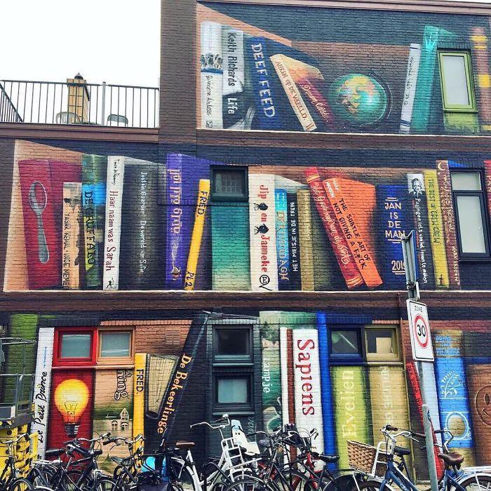 Dutch Artists Paint Giant Bookcase On An Apartment Building ...