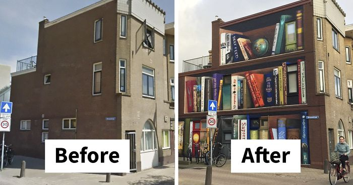 Dutch Artists Paint Giant Bookcase On An Apartment Building ...