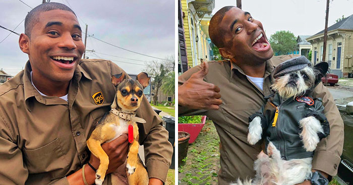 UPS Driver Entertains Himself At Work By Taking Photos With Every Dog He Meets