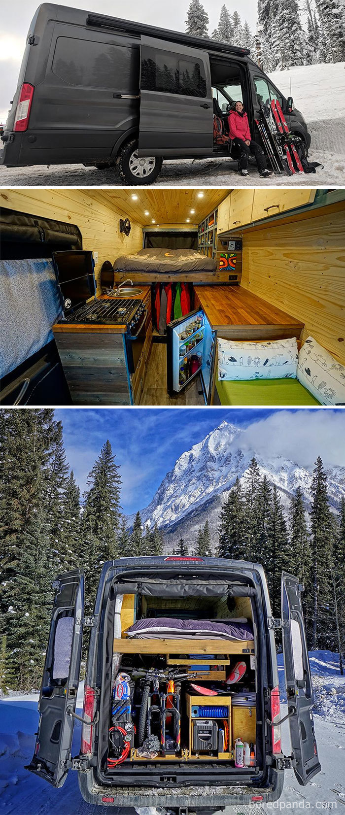 My GF And I Built A Van For Our Full Time Skiing Adventures