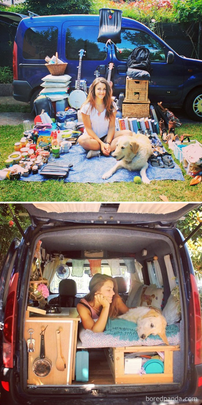 The Vehicle Is A 5-Door 2001 Renault Kangoo. She Restored It Herself After Researching The Project For Two Months