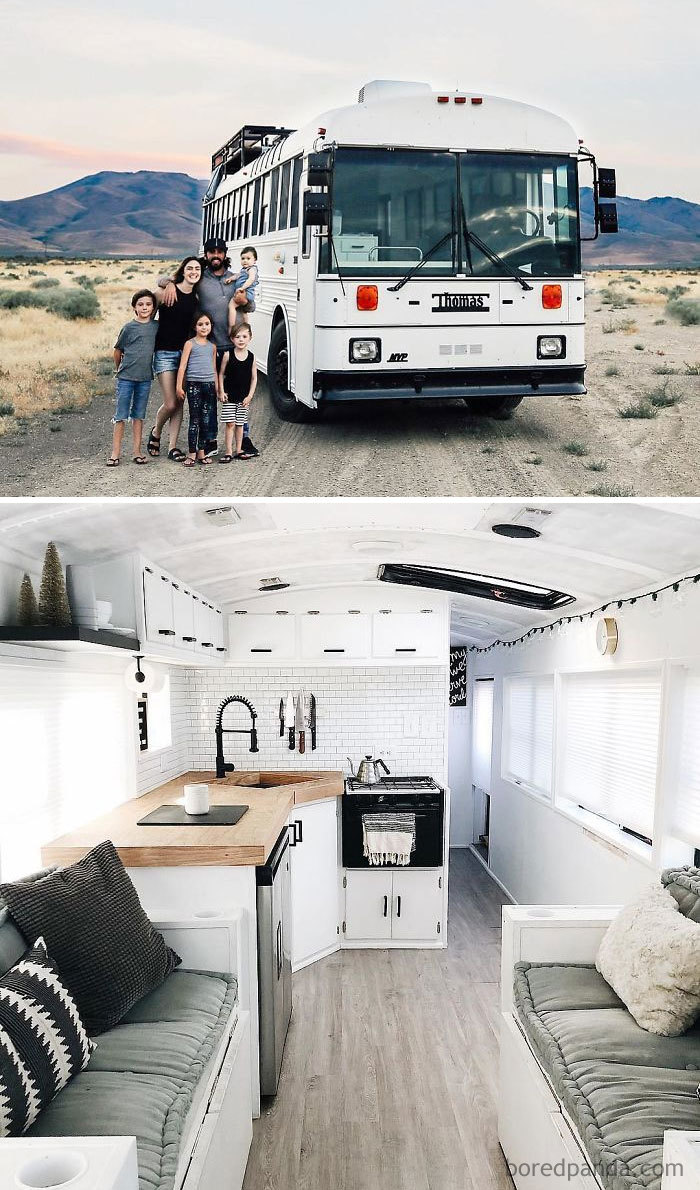 """We Were Living In A 5000 Sq Ft House Sick Of Living The """"Normal"""" Life That Everyone Thought We Should So We Packed Our 4 Kids Into A 250 Sq Ft Converted School Bus And Headed West And We're Loving It"""