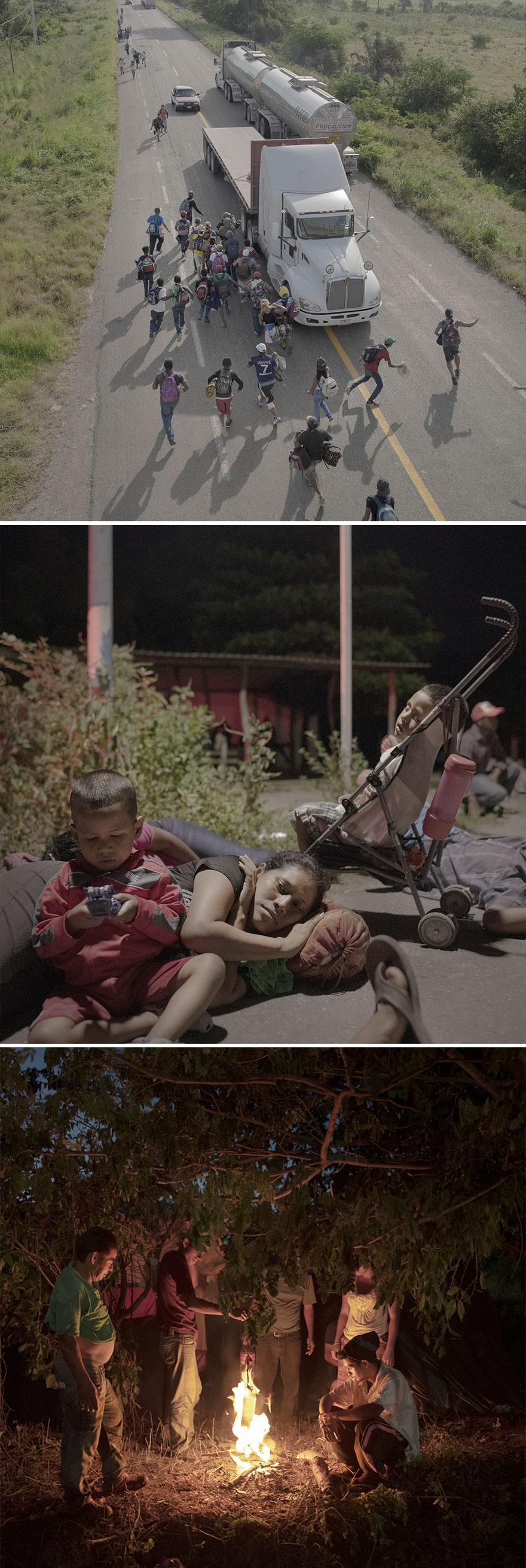 """Spot News, Stories, 1st Prize, """"The Migrant Caravan"""" By Pieter Ten Hoopen"""