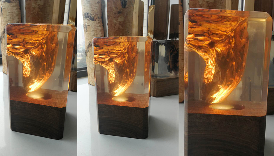 Resin Wood Made Unique Table Lamp Ambient Light Epoxy Wooden Light Sinobrilla
