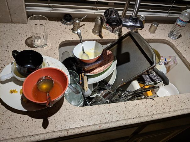 I've Been Stuck In My Room Sick For 4 Days Trying To Not Give My Roommate And His Girlfriend What I Have. They've Just Been Letting The Dishes Build Up This Whole Time