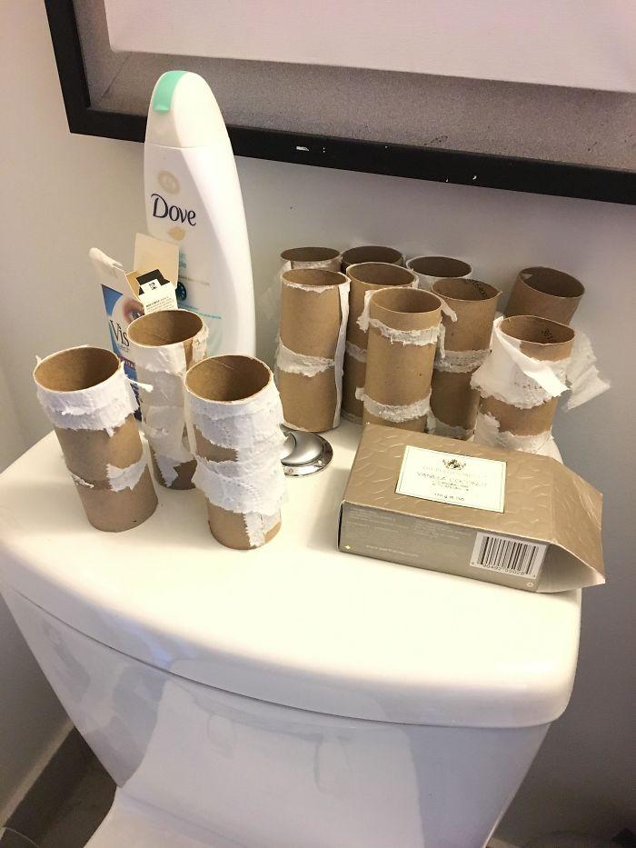 My Boyfriend Doesn't Throw Away Empty Toilet Paper Rolls
