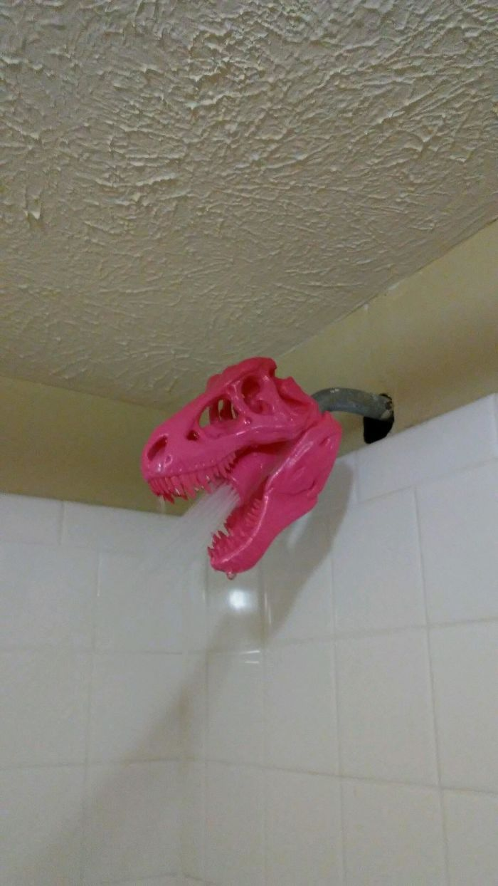 I Came Back To My Apartment To Find That My Roommate 3D Printed A T-Rex Shower Head