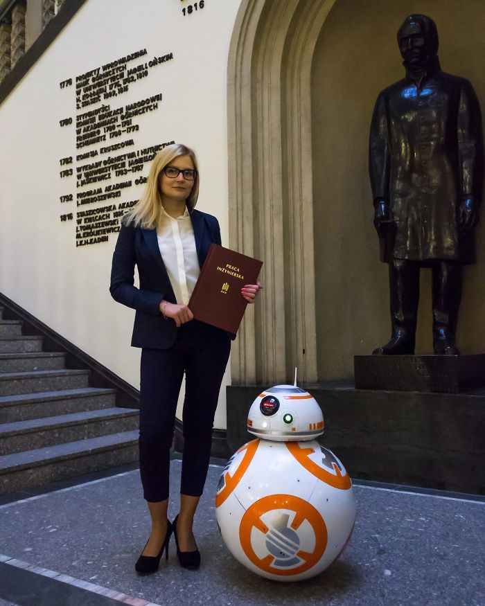 Student In My Country Made Mostly 3D Printed 1:1 Moveable Bb-8 Model As Her Engineer's Thesis As Final Work Ending Her Studies. She Also Programmed An App Which Let You Control The Robot