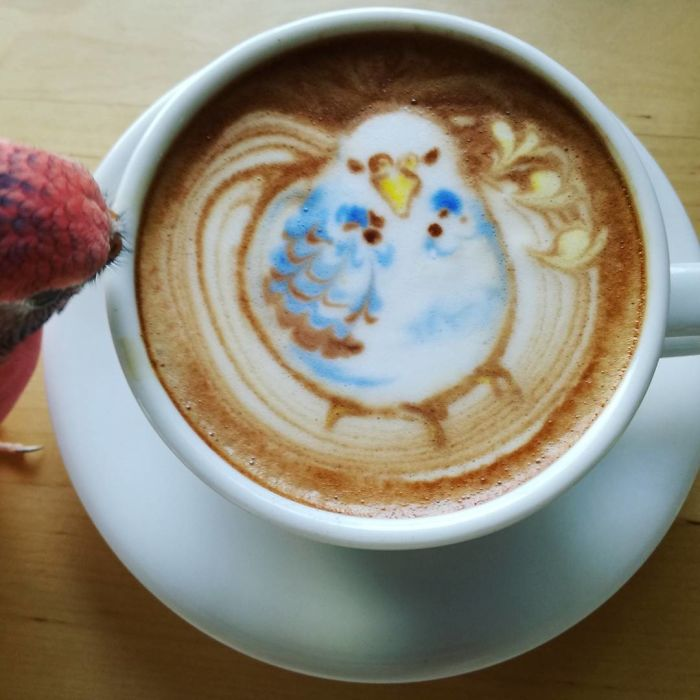 Japanese Uses His Passion For Birds And Creates Incredible Designs In Coffee