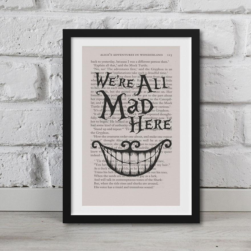 Alice In Wonderland Artwork Printed On Top Of Book Pages