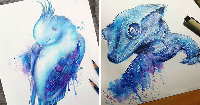 My 30 Animal Portraits That I Painted Using Watercolors And Pencils