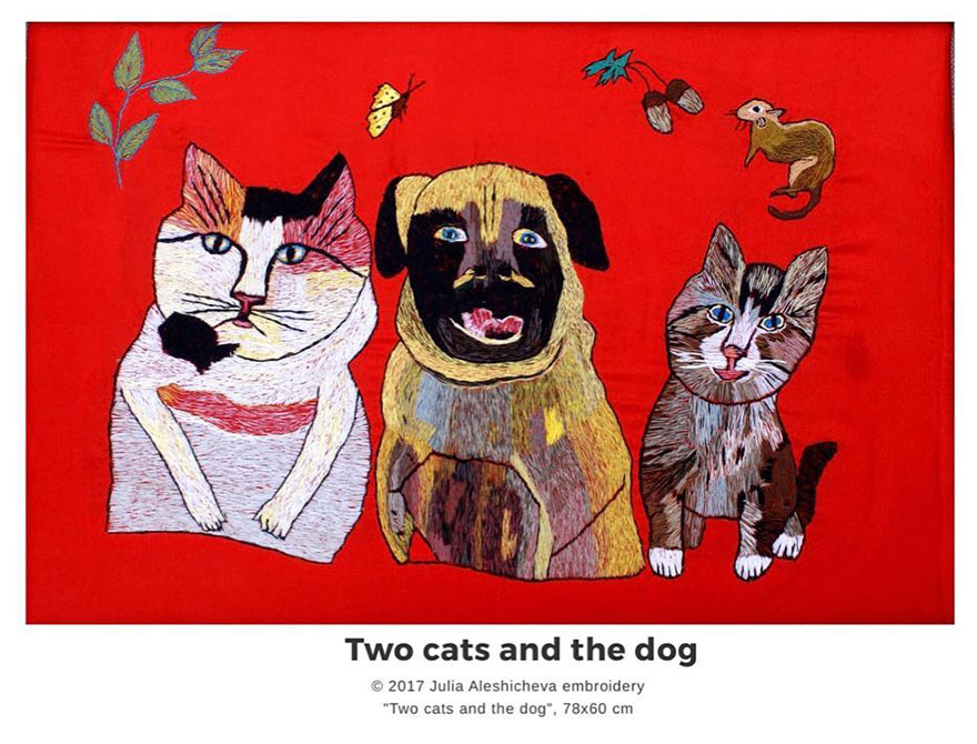 Two Cats And The Dog