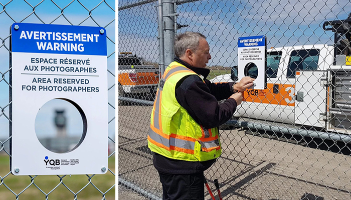 To Help Planespotting Photographers Get Shots, This Airport In Canada Had Holes Cut Out In Their Fence