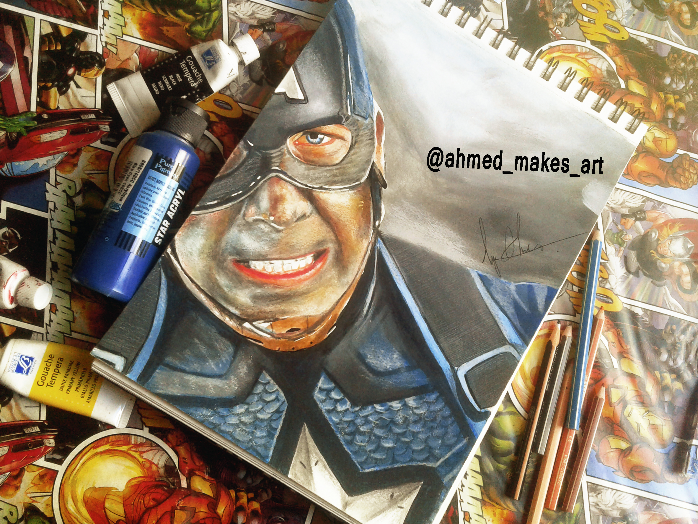 Captain America Realistic Drawing By Me