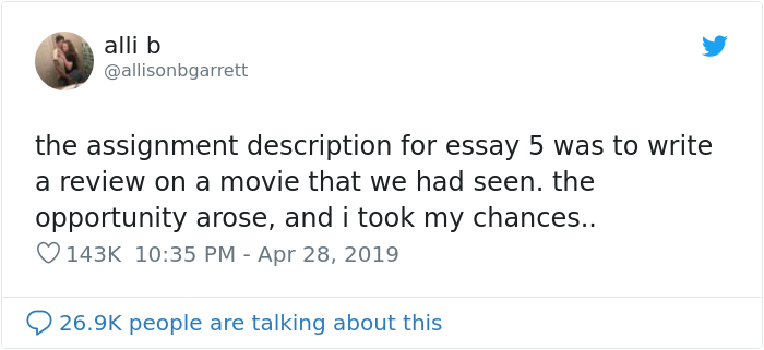 this student wrote a one sentence review of fight club and got an a  she chose to review fight club and decided to ignore all of the rules that  apply to the assignment
