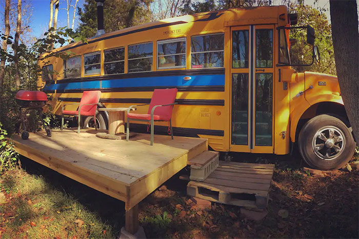 Cozy School Bus Conversion In Shepherdstown, West Virginia