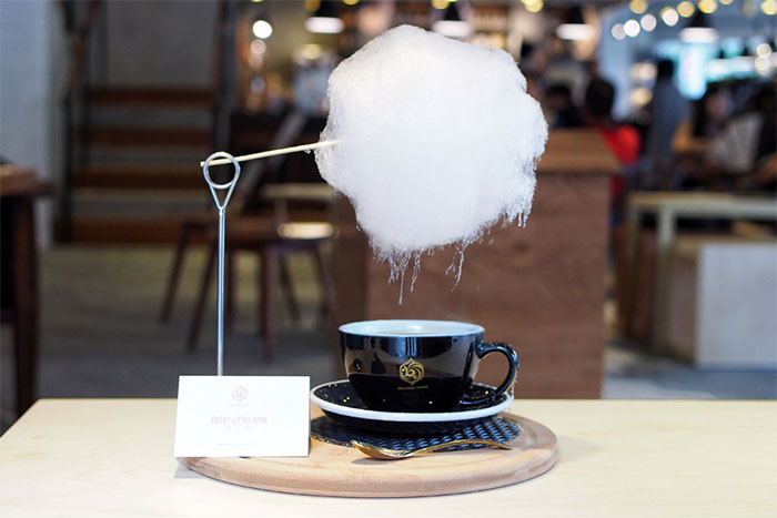 Cafe In Shanghai Serves Coffee With Cotton Candy On Top So It Rains Sugar, And It Looks Magical