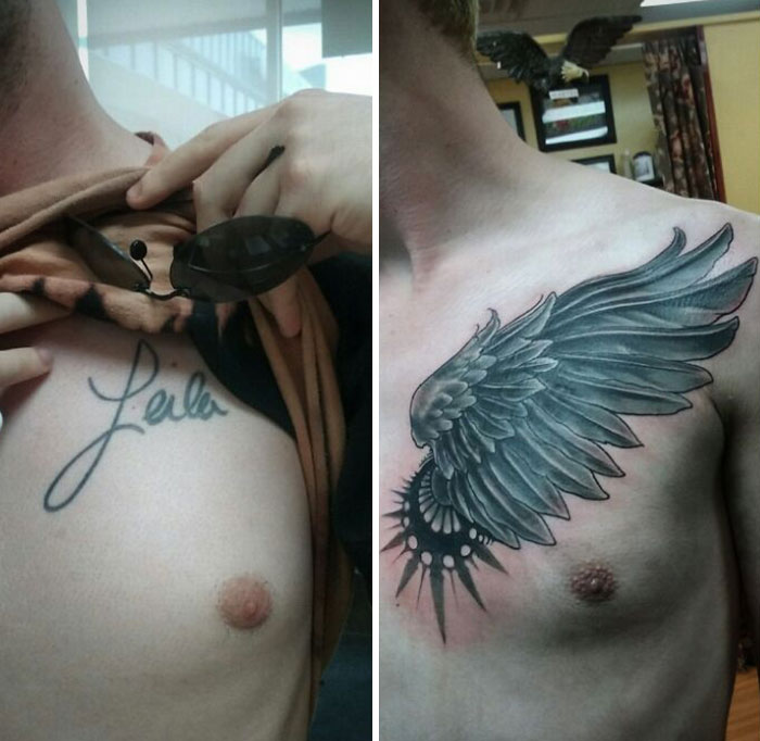Name Tattoo Be Gone! Poof. Now It's A Wing