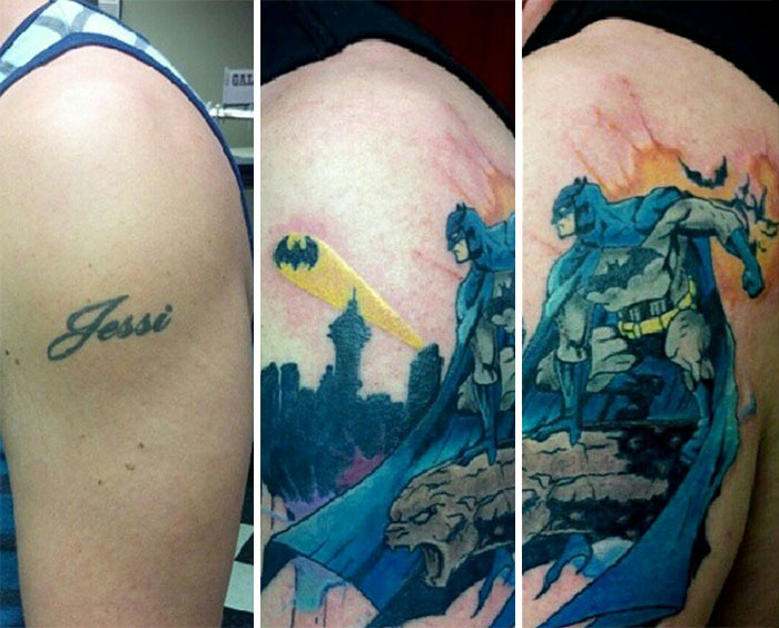 Finished Batman Tattoo Cover Up