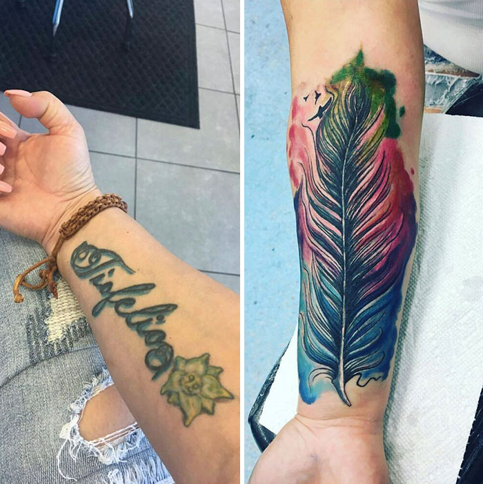 Heres A Before And After Of This Fun Colorful Feather