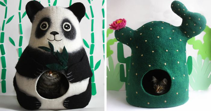 We Make Whimsical Felted Wool Cat Beds (16 Pics)