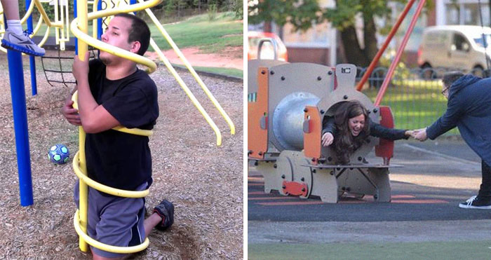 30 Times Adults Tried Playing In Kids Playgrounds But It Ended Disastrously