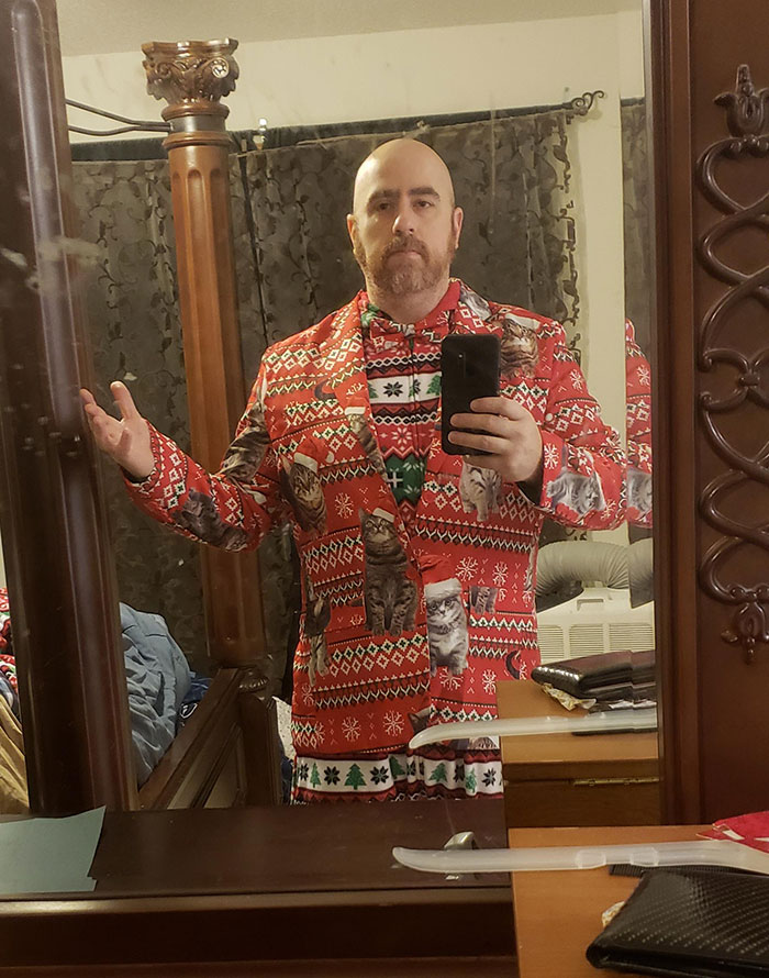 My Wife Told Me To Get Dressed Up For Professional Christmas Photos. Think I Nailed It