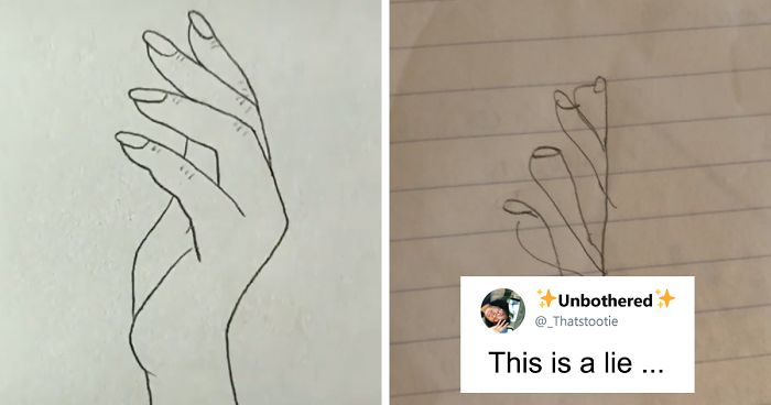 People Are Trying To Follow A Viral Hand,Drawing Tutorial