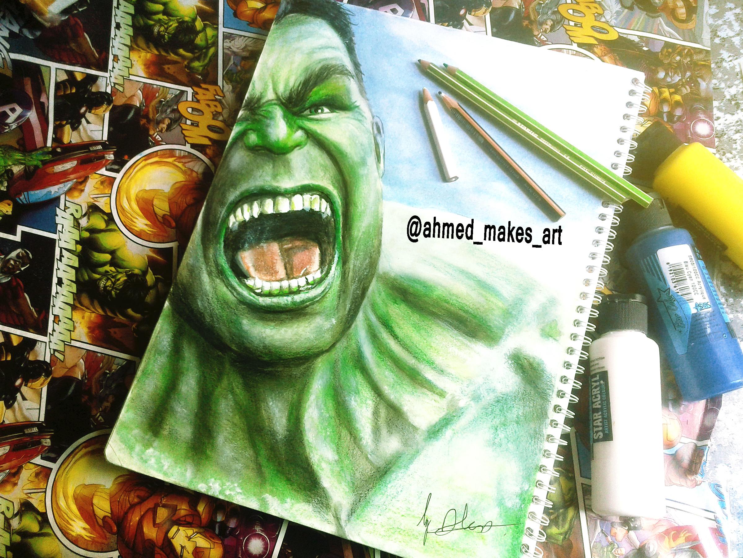 Hulk Realistic Creative Drawing By Ahmed Matoui