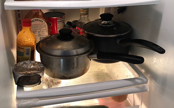 My Roommate And I Own Only Two Pots. When He Cooks, He Stores The Leftovers In The Fridge In The Pots, Instead Of Putting Them In Containers