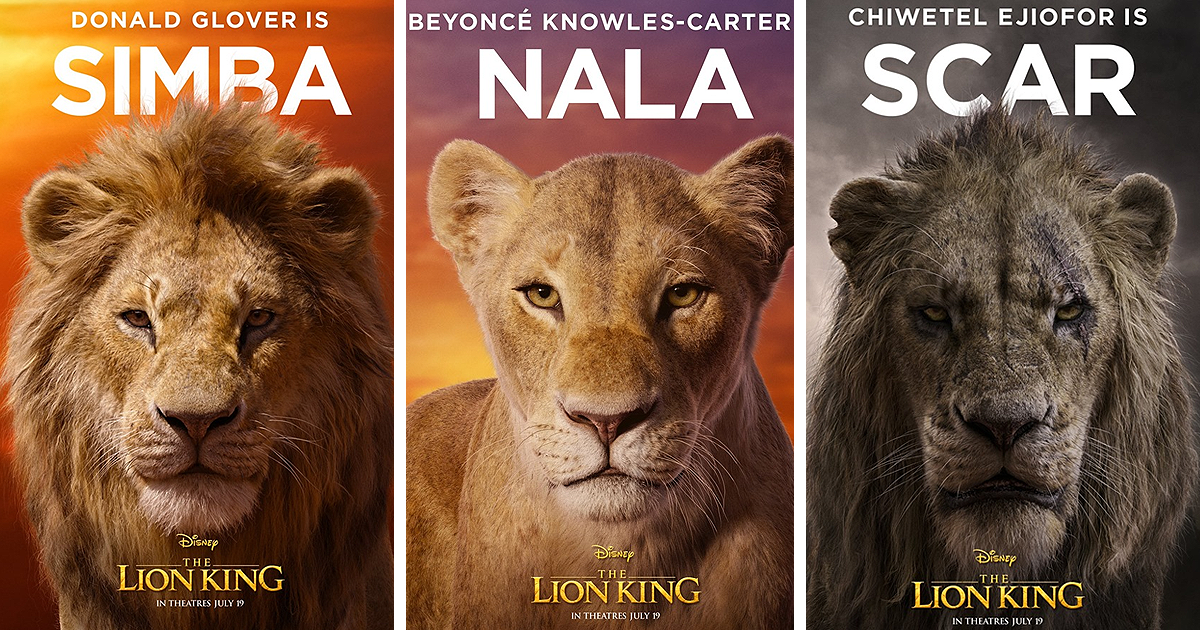 disney reveals posters for 11 main characters in the new lion king movie