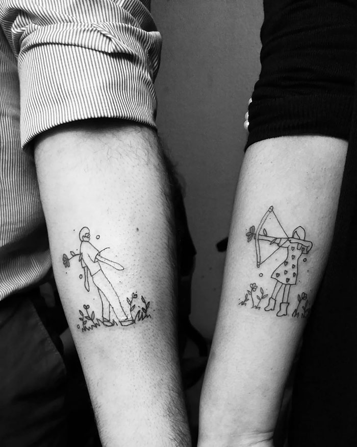 Matching Line-Work Tattoos For This Couple