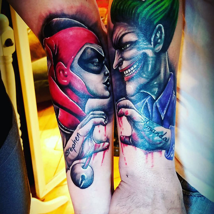 Matching Joker And Harley Tattoo: 165 Brilliant Matching Tattoo Ideas Not Only For Couples
