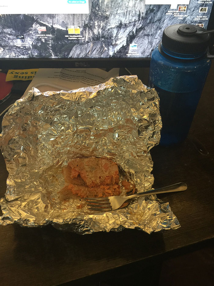 Look At My Actual Desk Mates Gross Lunch. It's Week Old Cold Salmon He Ate Straight Out Of The Packet