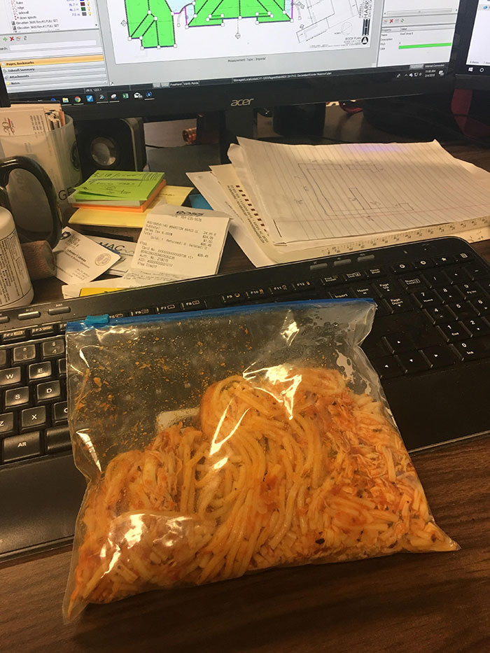 Wife Doesn't Trust Me With Our Tupperware Anymore. Spaghetti Lunch In Ziploc