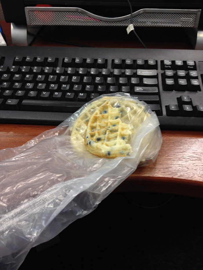 Soggy, Cold Blueberry Eggo Waffles… Out Of The Plastic Sleeve