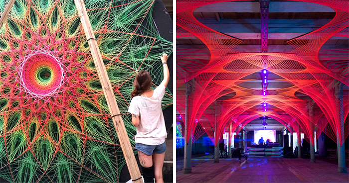 We Make String Installations With Tens Of Thousands Of Intersecting Straight Lines