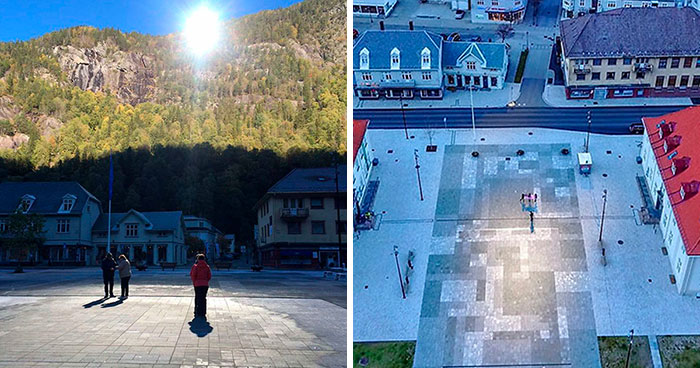 Town Has No Sun For 5 Months, Spends 5 Million Norwegian Kroner To Place Mirrors In The Mountains That Mimic Sunlight