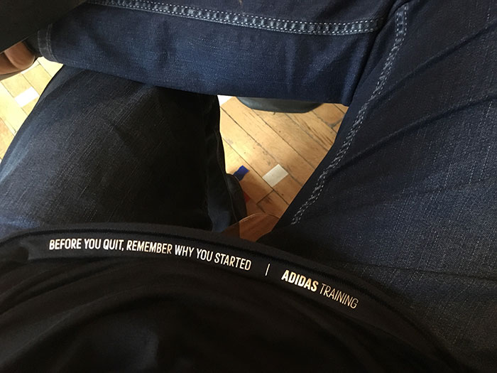 Sat Down To Brunch And My Shirt Bottom Curled Over To Display A Hidden Message